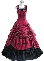 AvaLolita Womens Sleeveless Back Lace Up Ruffles Gothic Victorian Dress
