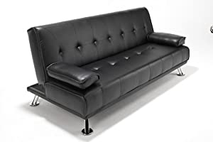 Faux Leather Sofabed Futon Sofa Bed With Chrome Feet by SOUTHERN SOFA BEDS (black)