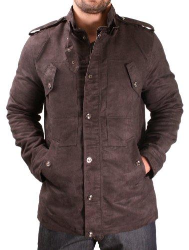 Moda Essentials Men's Military Jacket Coat Faux
