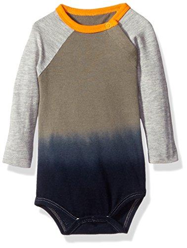 Burt's Bees Baby Boys' Organic Dip Dye Baseball Bodysuit, Charcoal, 12 Months