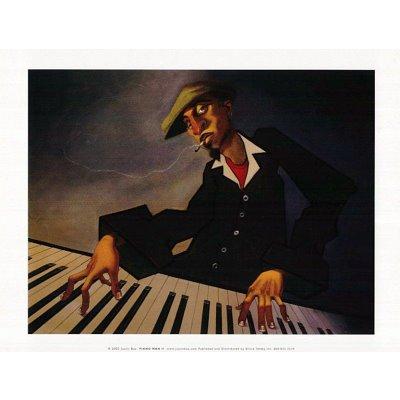 Piano Man II Justin BUA art print POSTER urban NYC RARE - 10x12