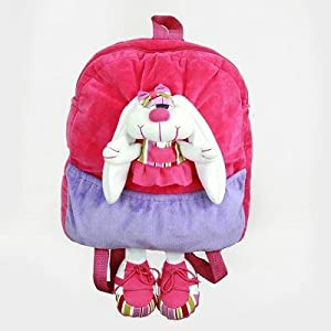 "Bunny Rabbit Pink & Purple Plush 16"" Backpack"