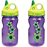 Nalgene Grip 'N Gulp Sea Turtles Bottle Purple With Green Cap 12 Ounce Water Bottle. 2 Bottle Pack