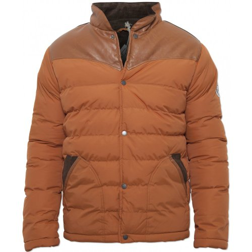 Mens Orange Bellfield Branded Otto Bubble Designer Jacket Orange X-Large