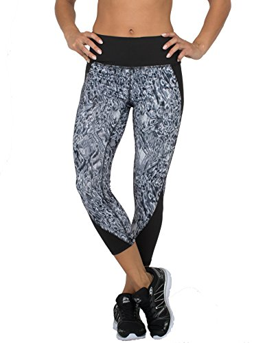 RBX Active womens Rave Wash Splice Capri Length Leggings,Black Acid Wash,Large