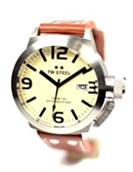 TW Steel Gents Stainless Steel Case And Brown Leather Strap Watch. Cream Dial