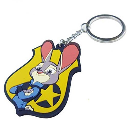 Japan Walt Disney Official Zootopia – Judy Hopps Pink Yellow Rubber Metal Keychain Charm Strap String Clip Purse Pouch Key Chain Phone Ring Holder Pendant Dangle Decor Accessory