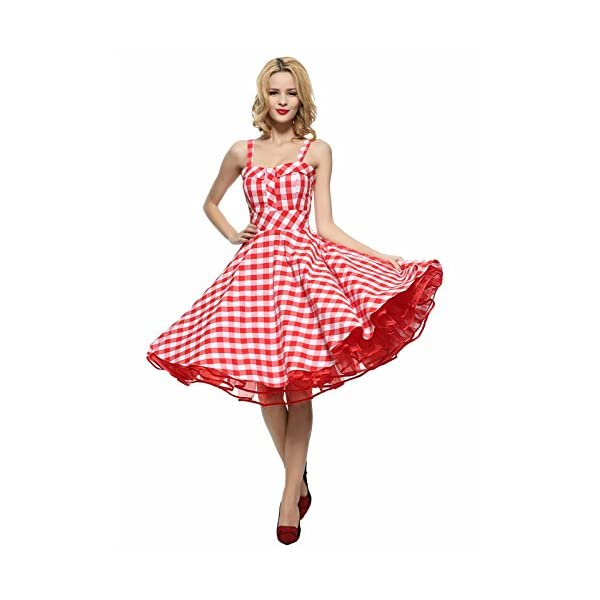 06a154391 Maggie Tang Women's 1950s Vintage Rockabilly Full Circle Swing Party Dress