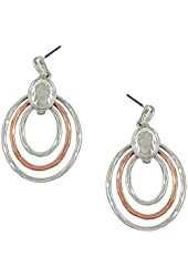 Beautiful Loop Rose Gold & Silver Plated Dangle Earrings