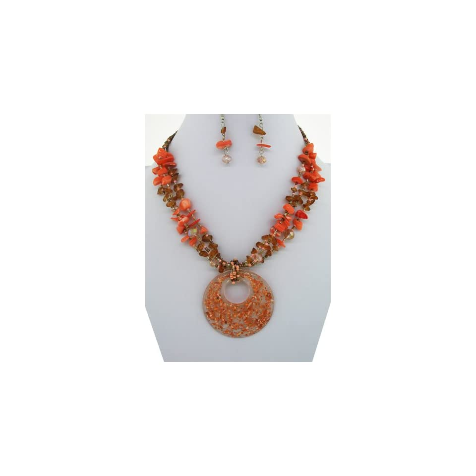 Fashion Jewelry ~ Pink Chipped Stone Faceted Crystals Beads with Murano Glass Pendant 3 Layers Necklace and Earrings Set (Style#aacds3126pink)
