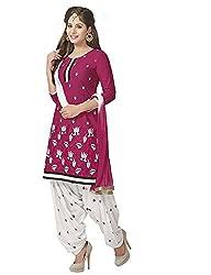 PShopee Maroon & White Cotton Reshim Embroidery Punjabi Patiyala Special Unstitched Dress Material