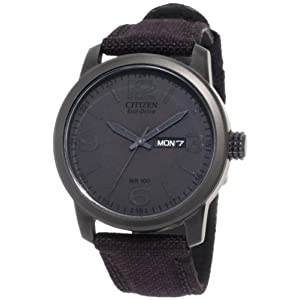 Citizen Men's BM8475-00F Amazon Exclusive Black Canvas Strap Eco Drive Watch