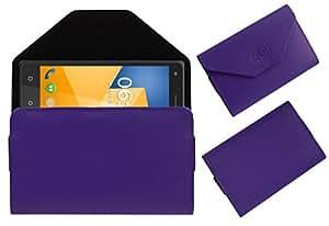 Acm Premium Flip Flap Pouch Case For Zen Cinemax 3 Mobile Leather Cover Magnetic Closure Purple