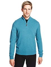 2in Longer Blue Harbour Luxury Wool Rich Half Zip Jumper with Cashmere