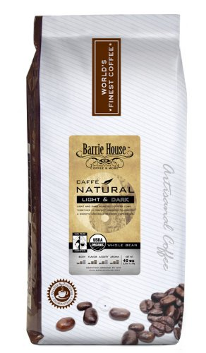 Barrie House Coffee Fair Trade Organic Caffé Natural Light & Dark Coffee Whole Bean 2.5 Lb Bag
