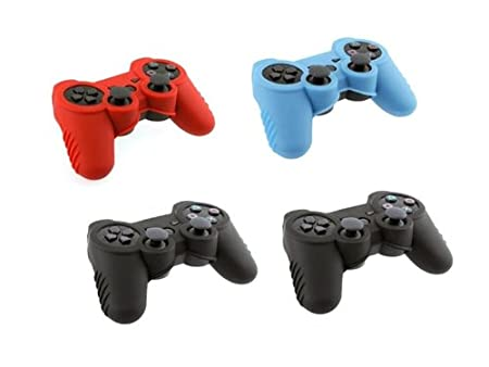 4in1 Combo Set Black x 2, Blue, Red Soft Silicone Skin Protector Cover Case Combo for Sony Playstaion PS3 Controller