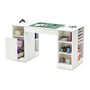 South shore crea collection craft table white for South shore artwork craft table with storage pure white