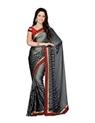 Aaliyah Women's Georgette Saree With Blouse Piece(Grey) - B00XL9L15A