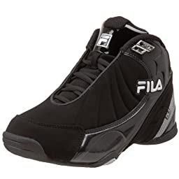 Fila DLS Slam Basketball Shoe (Little Kid/Big Kid), Black/White/Metallic Silver, 11 M US Little Kid