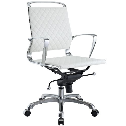 LexMod Vibe Modern Leather Midback Office Chair, White
