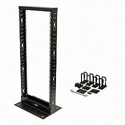 Navepoint 25U Professional 2-Post IT Open Frame Server Network Relay Rack 4.5 Feet Tall Black