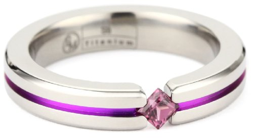 Women's Grey Titanium Princess-Cut Rhodolite Garnet with Garnet Anodized Channel, Size 6.5