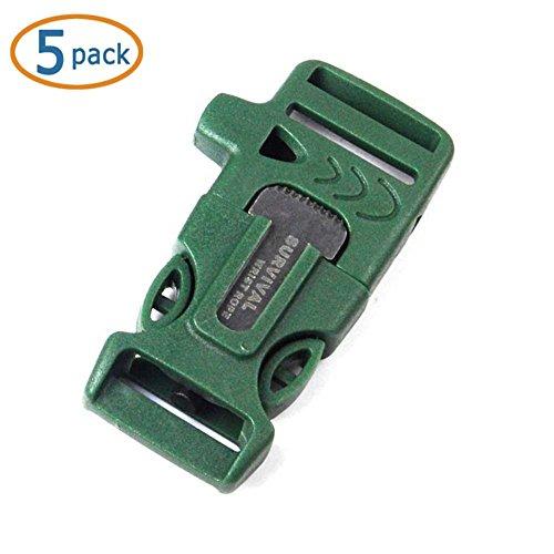"""Whistle Buckle, WOVTE® 5 PCS 3/4"""" Whistle Buckles w/ Flint Fire Starter & Striker for Paracord Bracelet - ArmyGreen"""