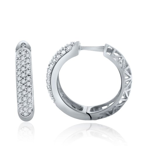 Sterling Silver Simulated Diamond J Hoop Earrings-1.00ct