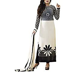 Destiny Enterprise Embroidered Gorgette White Color Party Wear Stitched Salwar Suit for Women