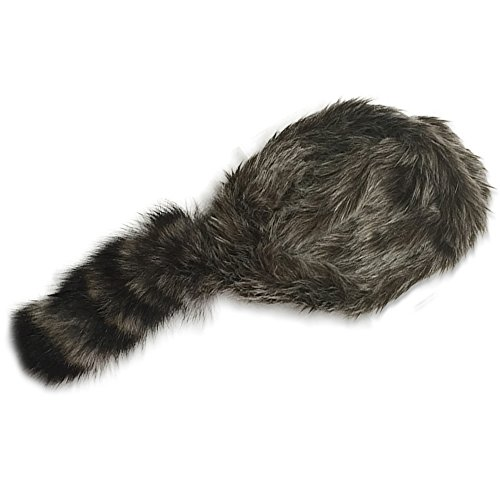 Nekid Cow USA Authentic Davy Crockett Daniel Boone Real Tail Cap Hat Large