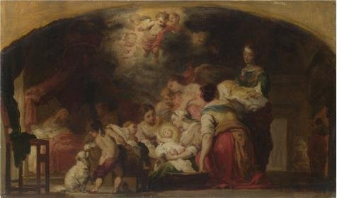 [The High Quality Polyster Canvas Of Oil Painting 'After Bartolome Esteban Murillo- The Birth Of The Virgin,after 1804' ,size: 8x14 Inch / 20x35 Cm ,this High Definition Art Decorative Canvas Prints Is Fit For Dining Room Decoration And Home Gallery Art And] (Trailer Trash Outfits)