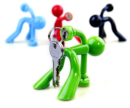 Fun Magnetic Man - Most Fantastic Key Holder with Wall Climbing Man Design | Ultra Strong Magnet and Silicone Material that Holds Up To 1.4 Pound | Special Set of 4 (Black, Green, Red, and Blue) Green Man Holder