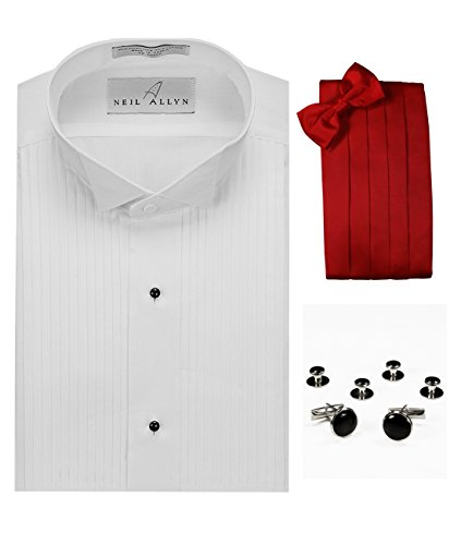 Wing Collar Tuxedo Shirt, Red Cummerbund, Bow-Tie, Cuff Links & Studs Set