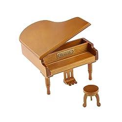 Magideal Burlywood Clockwork Piano Music Box Melody Play Box Kid Gift The Blue Danube