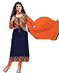 Mati Creation Latest Dark Blue And Orange Dress Materials