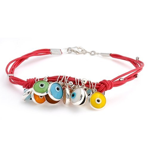 Bling Jewelry .925 Silver Red Leather Multi Color Evil Eye Charm Bracelet 7.5 Inch