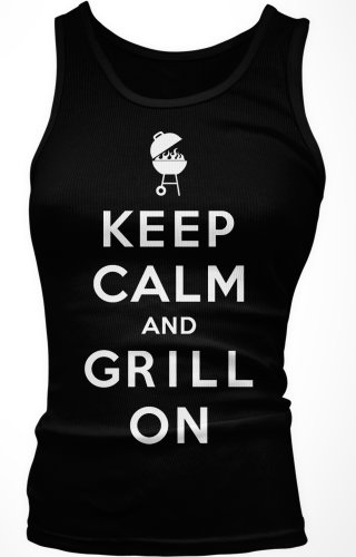 Keep Calm And Grill On Junior'S Tank Top, Funny BBQ Bar-B-Que Keep Calm Grill On Design Boy Beater (Black, Medium)