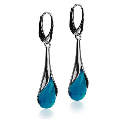Sterling Silver Imitation Opal Drop Leverback Earrings