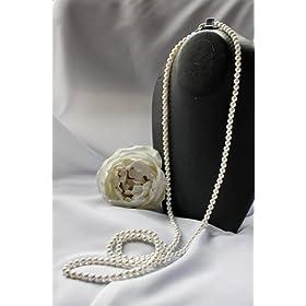 花珠級天然貝パール ロングネックレス 6mm真珠120cm ホワイト ホワイトデー プレゼント