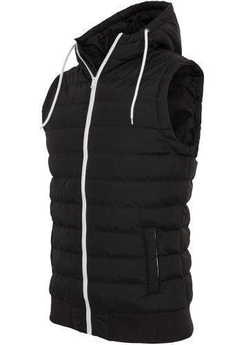 URBAN CLASSICS-Felpa da uomo con cappuccio-gilet-gilet trapuntato-Giacca invernale da ottico donna con cappuccio nero/bianco Medium