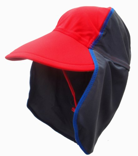 Bright Bots Australian Sun Protection UPF50+ Legionnaires Sun Hat Red and Grey Small (0-12 months)