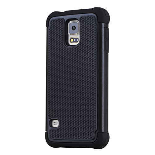 Galaxy S5 Case, Dynamic¬ [Heavy Duty] Samsung Galaxy S5 Case Protective **NEW** [Buddy Box] [Black] EXTREME Protection / Rugged but Slim Dual Layer Hybrid Protective Hard Back Cover Ð Black