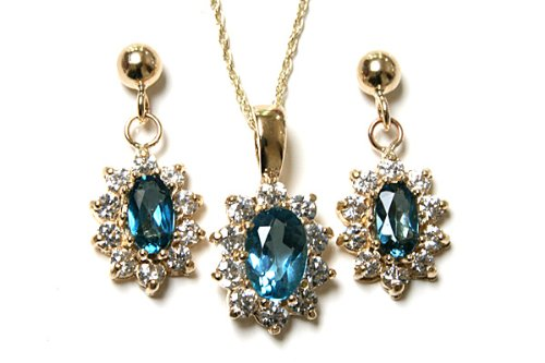 9ct Gold London Blue Topaz and Cubic Zirconia cluster Pendant and Earring set.