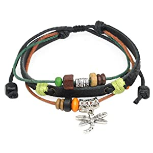 World Pride Dragonfly Colorful Bead Charm Leather Bracelet Adjustable Wirstband