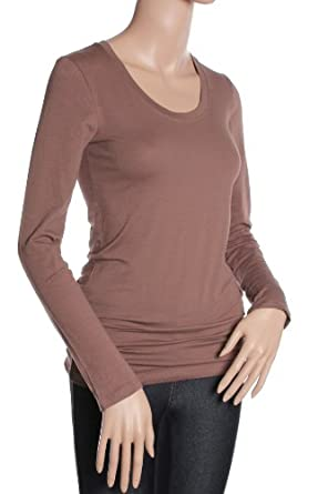 Active Basic Women's Basic Scoop Neck Tops,Small,Mocha