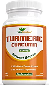 Turmeric Curcumin with Black Pepper Extract - 100% MONEY BACK GUARANTEE - 60 Powdered Veg Capsules, Powerful Anti-Inflammatory & Antioxidants - Promotes Joint Health, Helps Reduce Pain and Inflammation - Feel the Difference or Your Money Back
