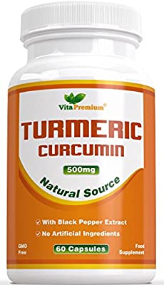 Turmeric Curcumin with Black Pepper Extract - Contains Organic Turmeric Powder - 100% MONEY BACK GUARANTEE - 60 Powdered Veg Capsules, Powerful Anti-Inflammatory & Antioxidants - Promotes Joint Health, Helps Reduce Pain and Inflammation - Feel the Differe