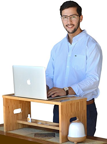 ROYAL CRAFT WOOD Luxury Bamboo Standing Desk or Monitor Stand Riser, Office Desk Accessories Organizer, All in One! (Upright Desk Calendar 2015 compare prices)