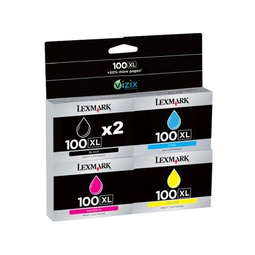 Lexmark 100XL 5 Ink Pack 2 black, 1 cyan, 1 magenta, 1 yellow