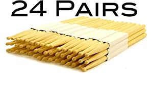 24 Pairs - 5b Wood Tip Natural Maple Drumsticks Pro 48 Drum Sticks New by EDMBG